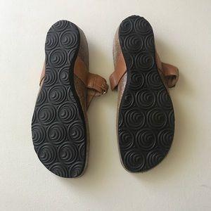 euroWellness Shoes - euroWellness Tan Sandals Size 10 Gold Metal Accent